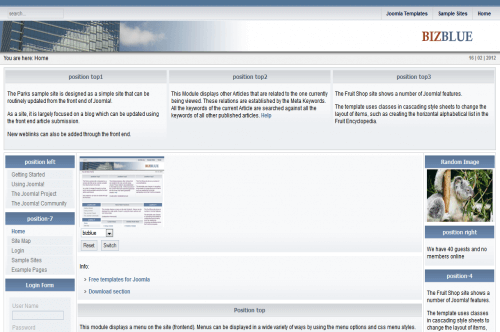 BizBlue. Шаблон бизнес-сайта для Joomla 2.5