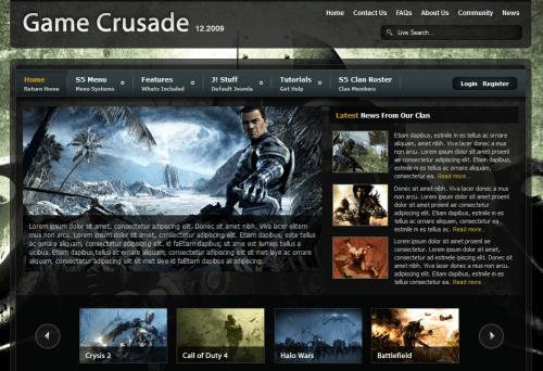 S5 Game Crusade. Шаблон игрового сайта для Joomla 2.5