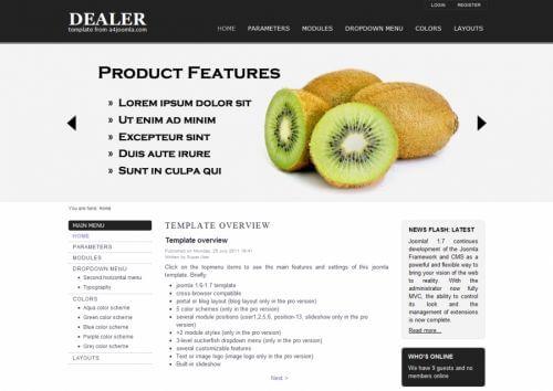Dealer. Шаблон сайта о еде для Joomla 2.5