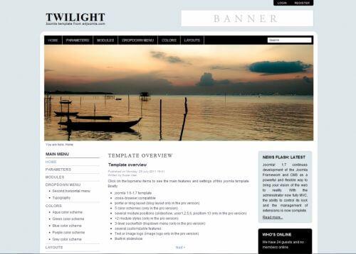 Twilight. Шаблон сайта о туризме для Joomla 2.5