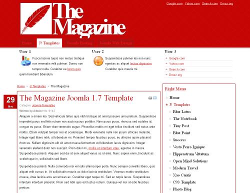 The Magazine News. Яркий шаблон блога для Joomla 2.5