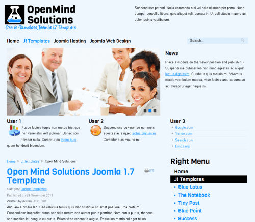 Open Mind Solutions. Шаблон бизнес-сайта для Joomla 2.5