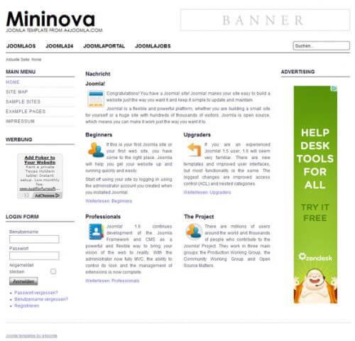 Mininova. Универсальный шаблон для Joomla 2.5