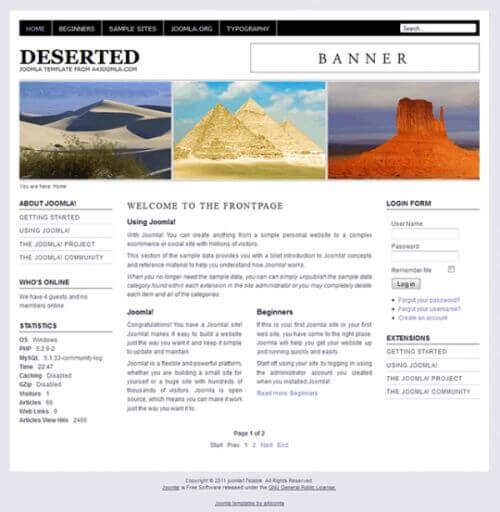 Deserted. Простой черно-белый шаблон для Joomla 2.5