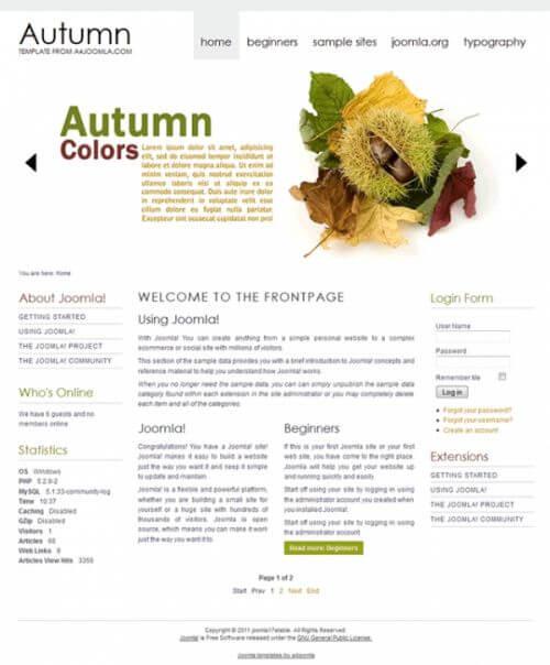Autumn. Шаблон блога для Joomla 2.5
