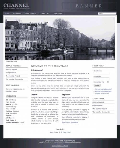 Channel. Шаблон городского портала для Joomla 2.5