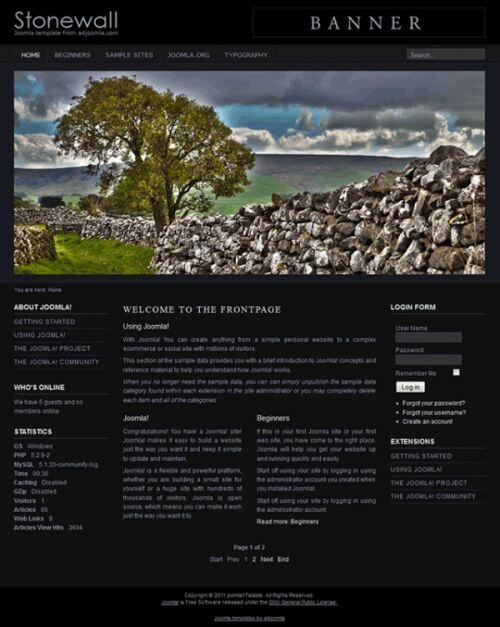 Stonewall. Шаблон сайта о природе для Joomla 2.5