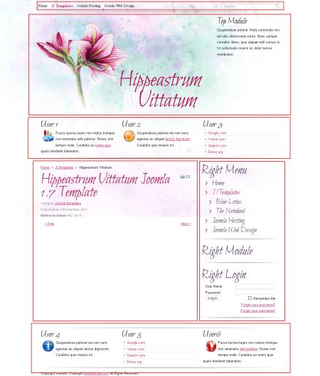 Hippeastrum Vittatum Art. Шаблон цветочного блога для Joomla 2.5