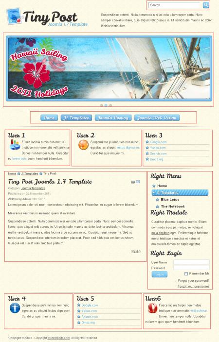 Tiny Post. Шаблон блога о путешествиях для Joomla 2.5