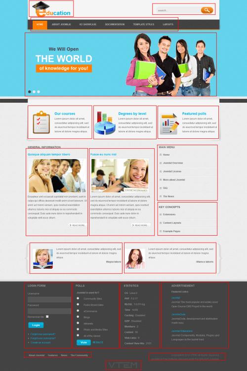 VT Education. Шаблон сайта образовательного учреждения для Joomla 2.5