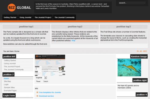 BizGlobal. Шаблон новостного портала для Joomla 2.5