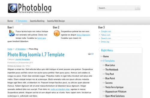 Photo Blog. Шаблон сайта для фотографов для Joomla 2.5