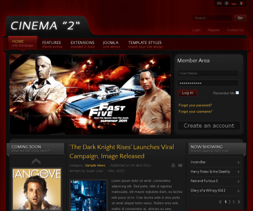 IT Cinema 2. Шаблон сайта о кино для Joomla 2.5.