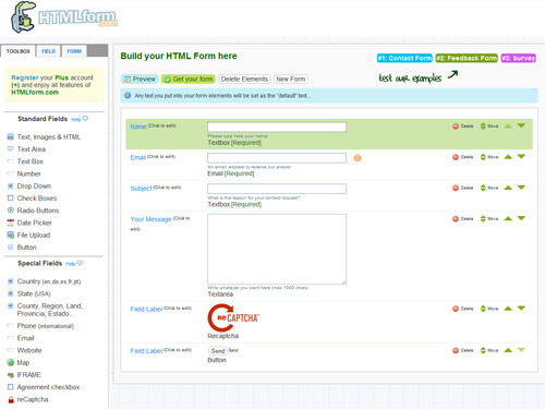 Конструктор форм HTMLForm онлайн