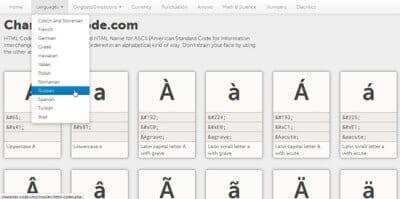 Онлайн таблица кодов символов