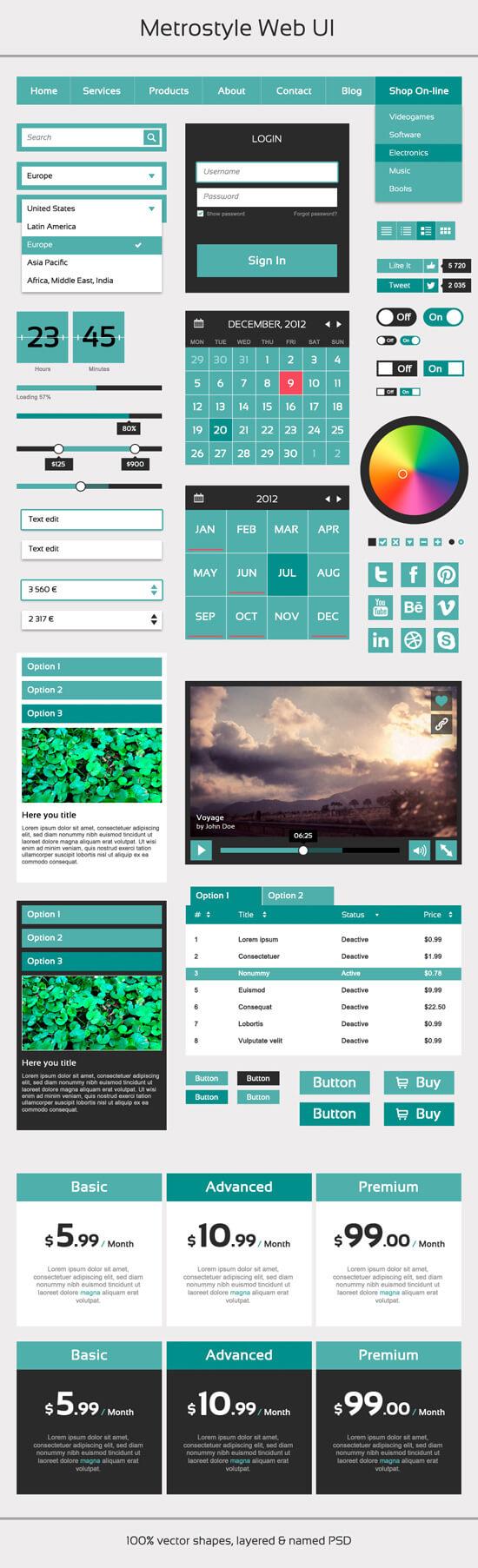 Набор элементов интерфейса - Metrostyle
