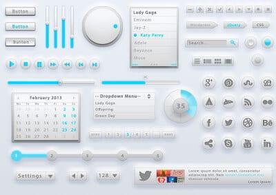 Набор элементов интерфейса - Grey