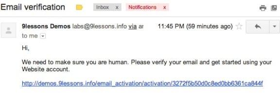 Активация email-а после регистрации