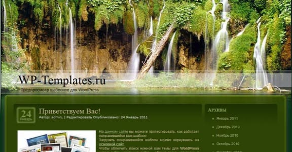 Шаблон Wordpress - Forest Waterfalls