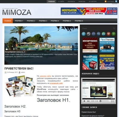 Шаблон WordPress - Mimoza