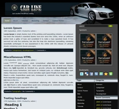 Шаблон WordPress - Car Line