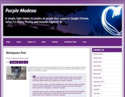 Шаблон WordPress - Purple Modena