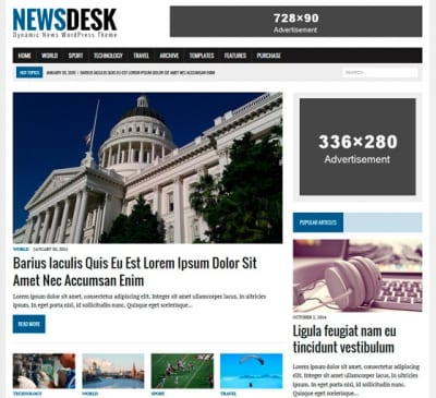 Шаблон WordPress - MH Newsdesk lite