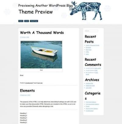 Шаблон WordPress - White Xmas