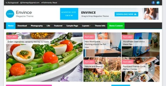 Шаблон Wordpress - Envince