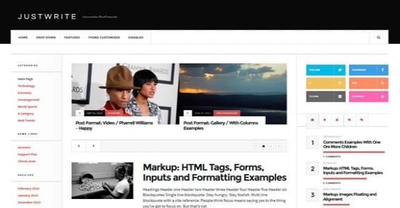 Шаблон Wordpress - JustWrite