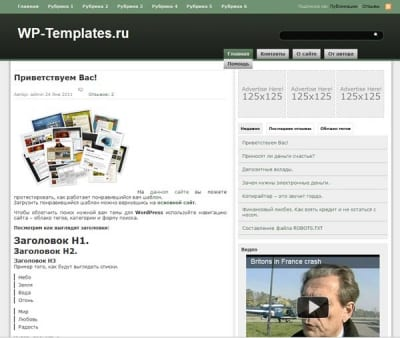 Шаблон WordPress - Green Blitz