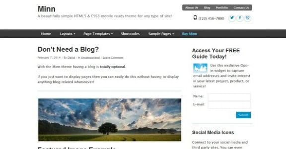 Шаблон Wordpress - Minn Lite