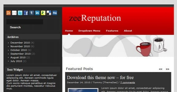Шаблон Wordpress - zeeReputation 9цв.схем