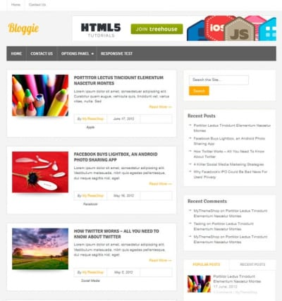 Шаблон WordPress - Bloggie