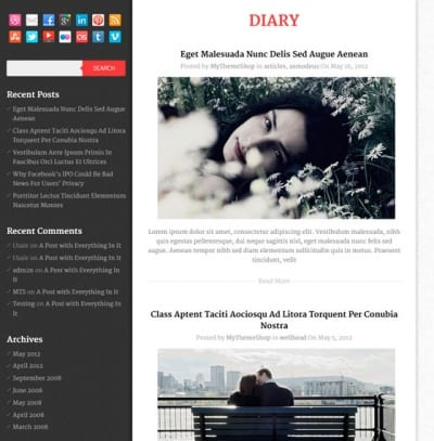 Шаблон WordPress - Diary
