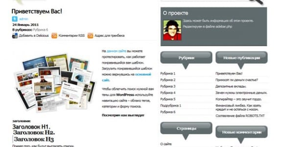Шаблон Wordpress - Стильная тема Nobus