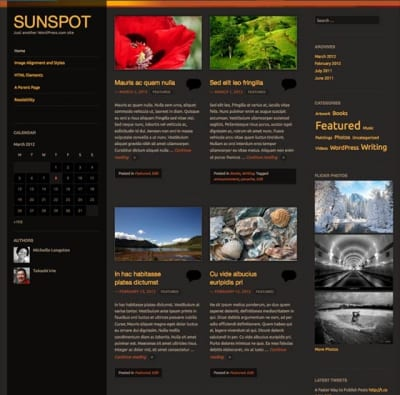 Шаблон WordPress - Sunspot