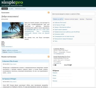 Шаблон WordPress - Simple Pro