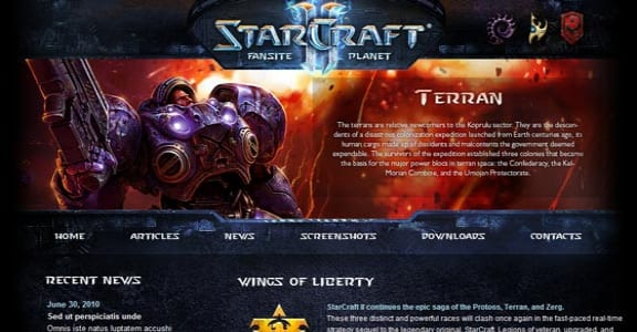 Шаблон Wordpress - Starcraft