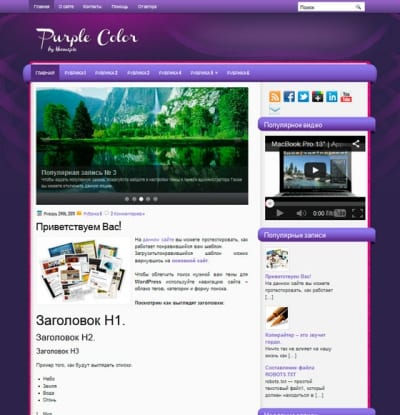 Шаблон WordPress - PurpleColor