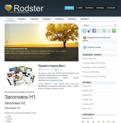 Шаблон WordPress - Rodster